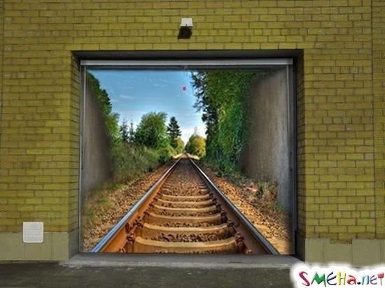 3D рисунок на стене - рейсы